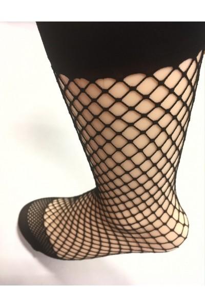 Носки фантазийные крупная сетка с носочком